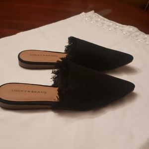 New Lucky Brand denim black mules size 8M